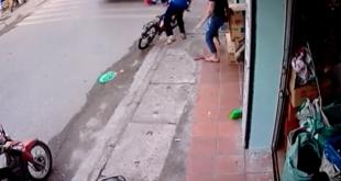Junge in Vietnam beinahe von Lastwagen überfahren