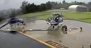 Überwachungskamera zeigt zwei kollidierende Polizeihubschrauber