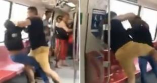 Kämpfende Männer im Zug gehen im Internet viral